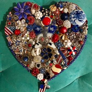 """Vintage Jewelry Mosaic, """"For the Love of Freedom"""""""